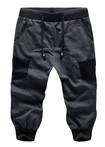SoEnvy Men's Casual Harem Training Jogger Sport Short Baggy Pants Medium Dark Gray