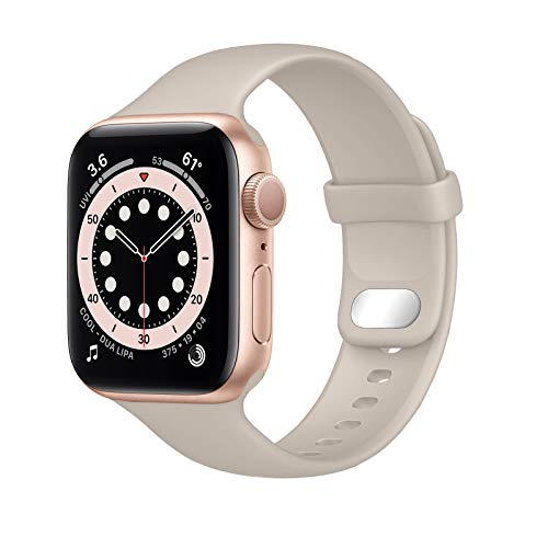 NUKELOLO Sport Band Compatible with Apple Watch Bands 41mm 40mm 38mm, Soft Silicone Replacement Strap Compatible for iWatch SeriesSE 7 6 5 4 3 2 1 Women Men [38/40/41mm Size in Stone Color]