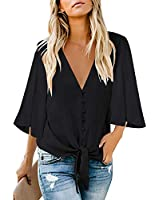 LookbookStore Women Button Down Tie Knot Casual Blouse 3/4 Bell Ruffle Sleeve Loose Top Black Size X-Large