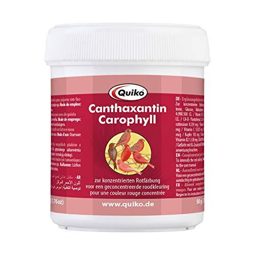 Quiko Canthaxantin/Carophyll 50g - Ergänzungsfutter für Vögel mit Rotfaktor -Zur konzentrierten Rotfärbung und Farbintensivierung - Für Kanarien, Feuerzeisige, Waldvögel usw.