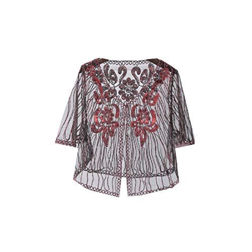 Freely Womens gehaakte korte mouwen Trendy capes Bolero Shrug Jacket vest