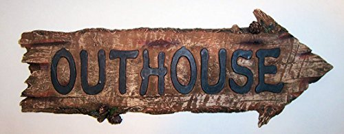 """ABC Products"" - Primitive Stye - Resin Plastic Wood Like Sign - Arrow Shaped - With The Word ""Outhouse"" - Wooden Design (Burned Wood Finish - Accented With Pine Cones)"