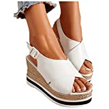 Aniywn Women's Slingback Peep Toe Platform Sandals Slip On High Heel Wedge Sandals Summer Slide Sandals for Women White