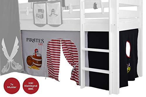 XXL Discount Vorhänge für Hochbett Pirat Vorhänge Stoff-Set für Spielbett, Vorhang Pirat Seeräuber 3-TLG 100% Baumwolle inkl Klettband Stoffvorhang Vorhänge für Kinderbett (Schwarz/Weiß, Pirat)