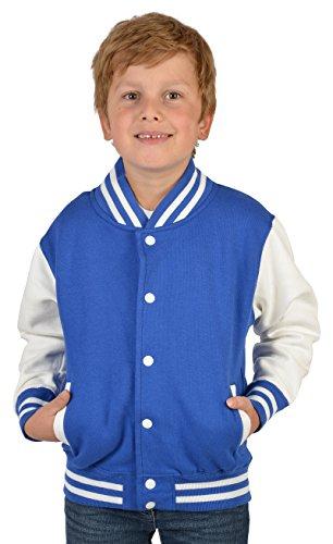 SH-Topshop - Stefan Hohenwarter Coole College Jacke für Jungs mit Rückenmotiv - Bad Smilie - Böser Smiley - Sweat Jacke - Farbe: royal-blau