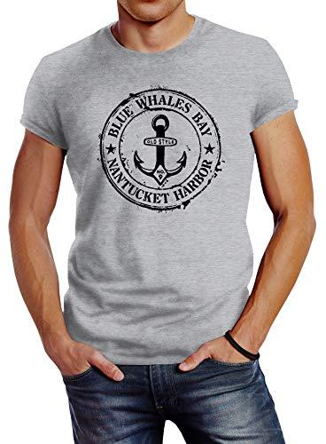 Neverless® Herren T-Shirt Anker Motiv maritim Retro Badge Vintage Anchor Print grau S