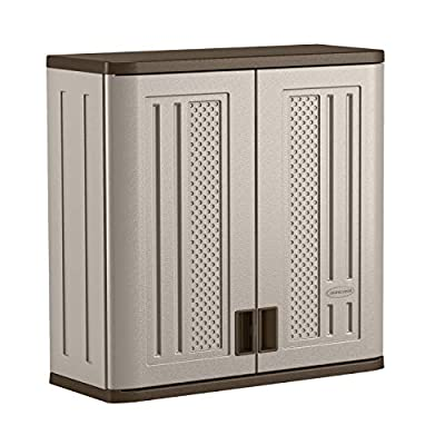 "Suncast BMC3000 Cabinet-Resin Construction for Wall Mounted Garage Storage, 30.25"" Organizer Doors & Slate Top, Silver/Platinum"