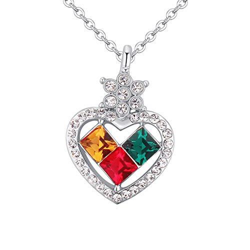 AIFEI Einfacher Liebeswürfel der Damenmode hängende Kristallhalskette, Farbe