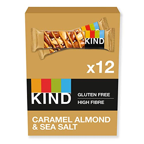 KIND Bars, Healthy Gluten Free & Low Calorie Snacks, Caramel Almond & Sea Salt, 12 Bars, (Packaging may vary)