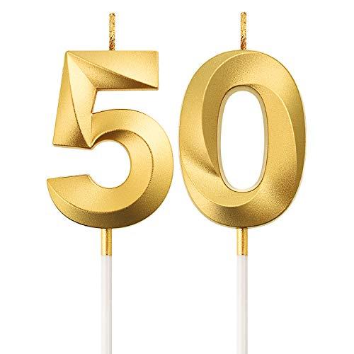 Velas de Cumpleaños 50 Velas de Numeros de Pastel Topper Decoración de Pastel de Feliz Cumpleaños para Fiesta de Cumpleaños Boda Aniversario Celebración