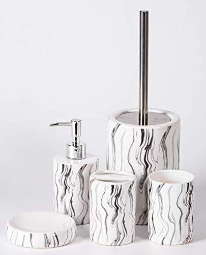 Zellerfeld Trendmax Marmor Badezimmer Set, Luxus-Badezimmer-Accessoires, stolvolle Badezimmer-Set oder Toiletten-Set Elegante Seifenspender in Marmor-Look, Weiß/Schwarz