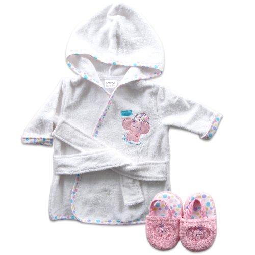 Luvable Friends Peignoir de bain bébé éponge tissé rose avec pantoufles