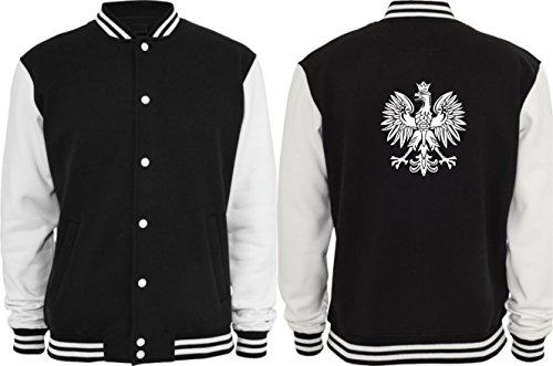 Collegejacke - Polska Adler Wappen Logo (Schwarz/Weiß, S)