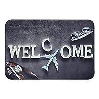 モダンソフトふわふわフロントウェルカムエントランス屋内/屋外カメラウェルカムフロアドアバスマットエリアラグドアマットカーペットベッドルームリビングルームホーム玄関装飾ゴム滑り止め吸収剤耐久性40x60cm