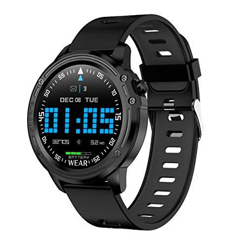 HJKPM Smartwatch, IP68 Wasserdicht 1,22 Zoll Volle Runde HD Smart Uhr Mit Magnetic Suction Typ Fast Design-Aufladung Und Built-In 320Mah Lithium-Batterie,Schwarz