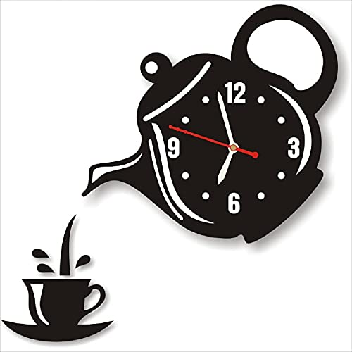 Unique Fashion Plastic 3D Tea Pot & Cup Designer Acrylic Wall Clock Design for Living Room, Bedroom Wall, Home and Office, Made in India (Black, Size : 22.5 * 21)
