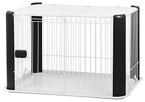 Iris Ohyama, Pet Circle CLS-960 Parc d'intérieur pour chien avec base, toit amovible, porte coulissante avec loquet, crochets pour un montage facile, pour chien Noir