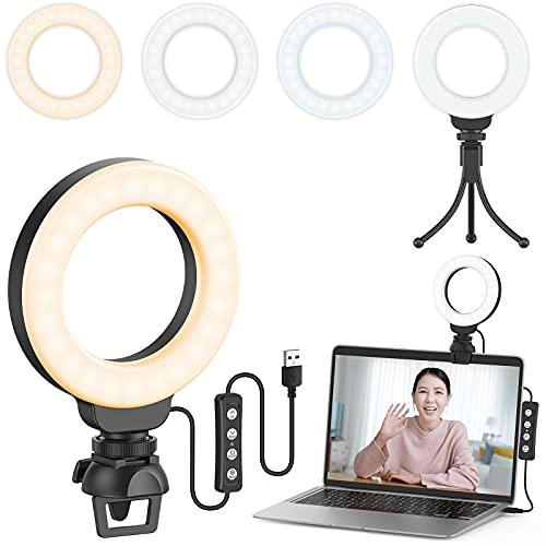 Ruyilam LEDリングライト 4インチ 3色モード 高輝度 クリップ式 USB給電式 10段階調光 リングライト 三脚付き ノートパソコンに対応 zoomウェブ会議照明 女優ライト 自撮リングライト 撮影照明ライト 動画配信補助光