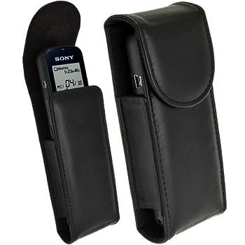igadgitz Black Genuine Leather Case/Cover for Sony ICD-PX312 ICD-PX333 ICD-PX440 ICD-BX140 ICD-PX240 ICD-PX370 & ICD-PX470 Digital Voice Recorder