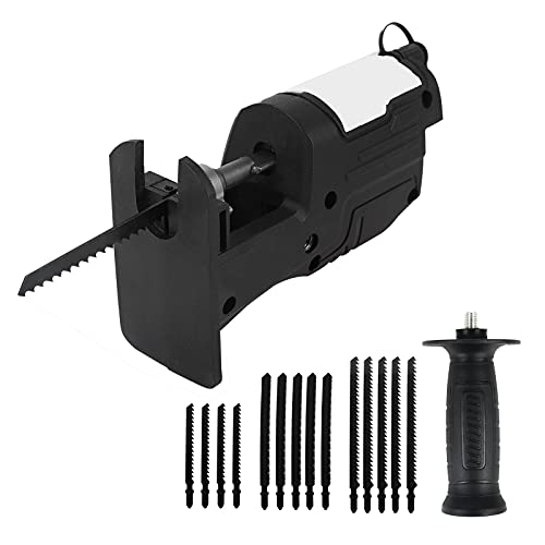 WMLBK Cordless Saw Drill Attachment, Portable Reciprocating Saw Attachment Adapter with 15pcs Blades, Jig Saw Attachment for Metal Wood Cutting