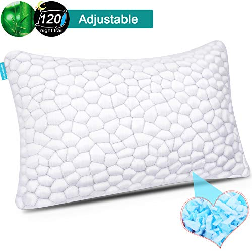 Shredded Memory Foam Pillows for Sleeping Cooling Gel Pillows Bamboo Pillow with Adjustable Height Hypoallergenic Sleeping Bed Pillows with Removable Cover Queen Size (White, LUXRY 3D--QUEEN)