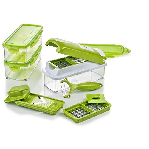 Genius Nicer Dicer Smart | 13 Teile | Gemüseschneider | Zwiebelschneider | Schneiden / Würfeln / Hobeln / Stifteln / Schälen / Aufbewahren | Mandoline | Multischneider | Gemüsehobel | Obstschneider | NEU