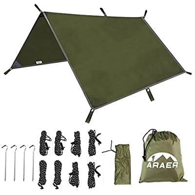 "ARAER Tent Tarp Hammock Rain Fly 114"" x 114""/9.5ft, 900g/1.98lbs, 2000PU Waterproof Windproof UV 50 Sunshade Essential Survival Camping Hiking Backpacking Cycling Gear, 4 Stakes 8 Ropes"