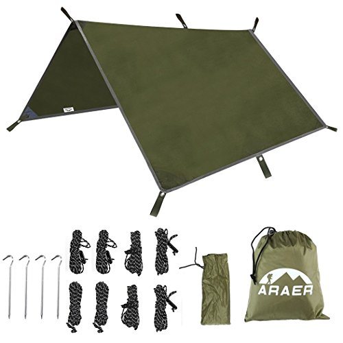 "ARAER Tent Tarp Hammock Rain Fly 114"" x 114""/9.5ft, 900g/1.98lbs, 3000PU Waterproof Windproof UV 50 Sunshade Essential Survival Camping Hiking Backpacking Cycling Gear, 4 Stakes 8 Ropes"