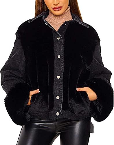 Snhpk Women's Plush Denim Jacket Button up Lapel Patchwork Jean Coat Outwear