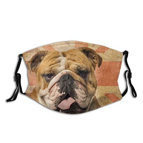 Waschbarer Mundschutz Anti-Staub-Gesichtsschutz,Nahaufnahme einer englischen Bulldogge,Wiederverwendbar winddicht für Outdoor-Ski Radfahren Camping Laufen