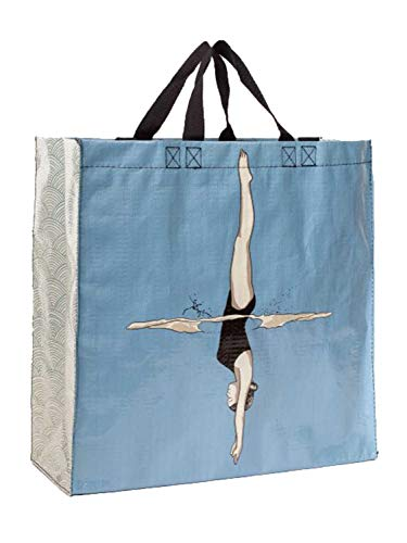 Blue Q Shopper, Diver. Reusable Grocery Bag, Sturdy, Easy-to-Clean, 15' h x...
