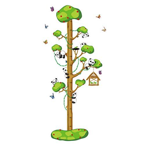 Calcomanías de pared con diseño de animales de dibujos animados para medir la altura de la pared, calcomanías de crecimiento extraíbles, decoración del hogar, decoración de PVC para bebés y niños y niñas, multicolor