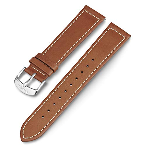 Timex 20mm Genuine Leather Strap – Tan with Silver-Tone Buckle