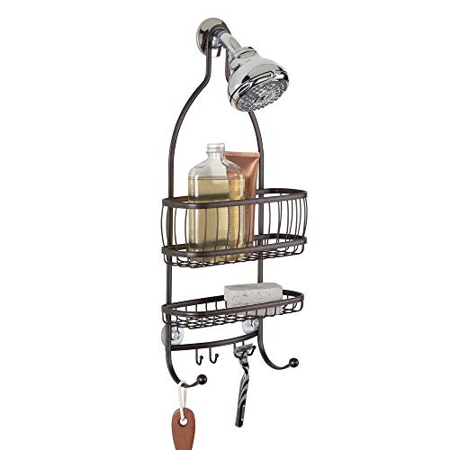 mDesign Metal Bathroom Tub amp Shower Caddy Hanging Storage Organizer Center with Builtin Hooks and Baskets on 2 Levels for Bathroom Showers Stalls Bathtubs  Rust Resistant Steel Wire  Bronze