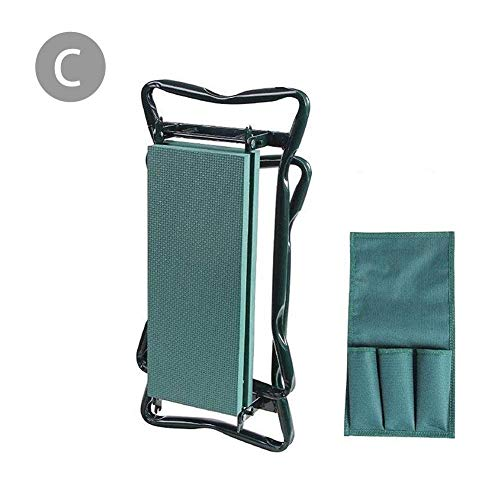 Tavot Garden Kneeler and Seat Folding Garden Kneeler with 2 Tool Bags Pad with Small Cloth Bag Garden Garden Folding Stool Folding Belt Tool Bag Garden Bench