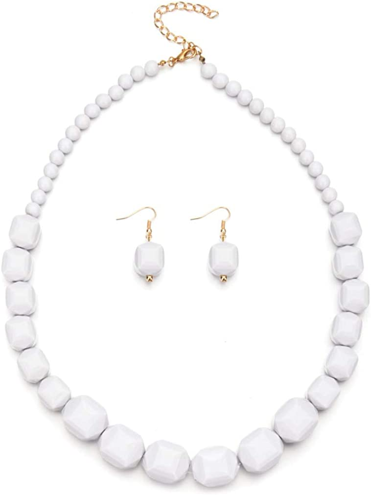 MEQNOIG Acrylic Beaded Necklace White Red Statement Necklace Women's Strand Necklaces