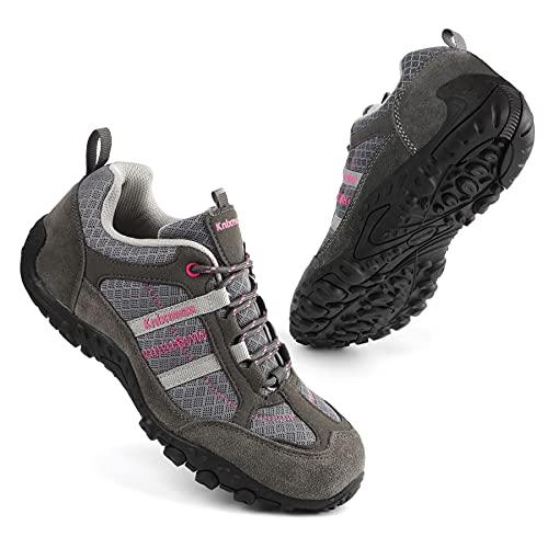 Knixmax Damen Wanderschuhe Leichte Trekkingschuhe Atmungsaktiv Wasserdicht rutschfeste Outdoorschuhe Low Trekking- & Wanderhalbschuhe Grau Gr.38 EU
