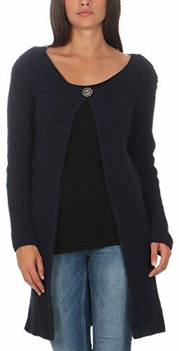 Malito Damen Lange Strickjacke | Cardigan im Grobstrick Look | Weste mit Wolle | Mohair - Jacke - Mantel 7020 (dunkelblau)
