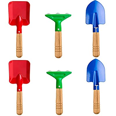 """Delphinus Kids Gardening Tools Set, 6pcs Gardening Tools for Kids Metal with Sturdy Wooden Handle Safe Gardening Tools 8"""" Long Gardening Tools"""