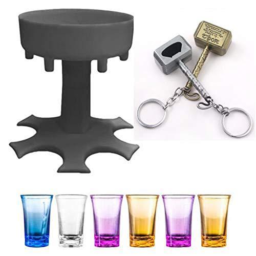 Dispensador de cristal y soporte, color gris, dispensador de bebidas con 6 tazas y 2 abridores de cerveza, para rellenar líquidos, para fiestas o cócteles