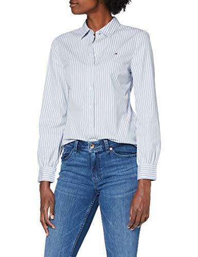 Tommy Hilfiger Alexis Regular LS Shirt Camisa, Isabella STP/Breezy Blue, 32 para Mujer