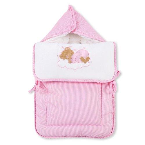 Fußsack Einschlagdecke Decke für Kinderwagen, Babyschale & Maxi Cosi Baumwolle, Farbe:Rosa