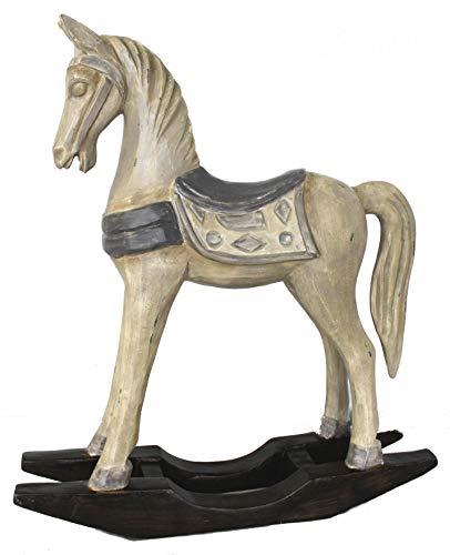 Keyhome Cavallino a Dondolo in Pasta di Legno statuina Decorativa Ideale Come soprammobile - Altezza 33 cm