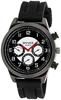 64bacba4fe Montre Shivas Homme Quartz Noir en Caoutchouc | Cadran Blanc | A73479-903