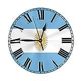 Xiaoxian Reloj de pared decorativo con número de reloj de bandera de Argentina y fácil de leer, para dormitorio, sala de estar y escuela