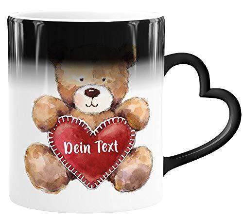 SpecialMe® Zaubertasse Herz-Henkel Geschenk Teddy Motiv optional personalisierbar Danke sagen Trost spenden Mut machen Dein Text weiß Magic-Herz-Tasse