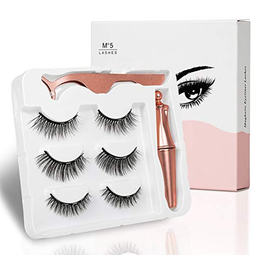 Qnlly 3Pairs magnética Delineador de Ojos y...