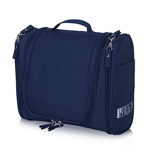 Hanging Toiletry Bag Travel Cosmetic Kit - Wash Bags - Large Organizer - Wash Bags - Sturdy Hook Makeup Bag - Heavy Duty Waterproof (Drak Blue)