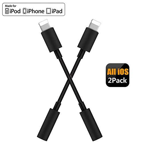 【2 Pack】 Adaptador de iPhone Adaptador Jack de 3,5 mm Conector de Auriculares para...
