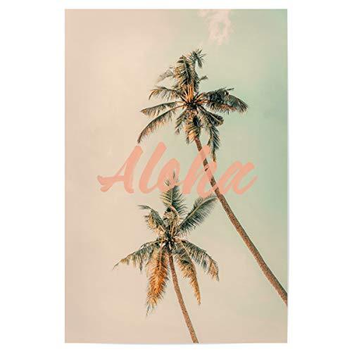 artboxONE Poster 45x30 cm Typografie Aloha Palms hochwertiger Design Kunstdruck - Bild Typography Hawaii Palm